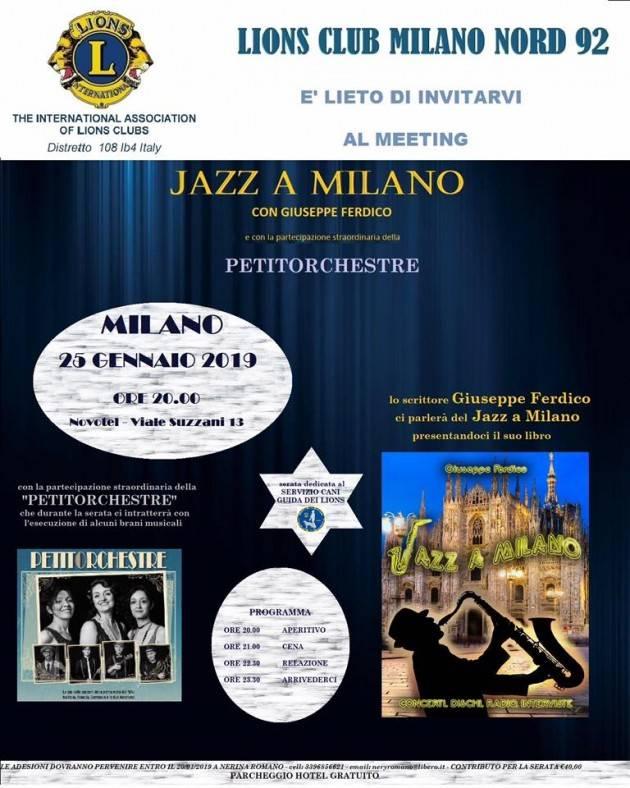 JAZZ   A MILANO  Il 25 GENNAIO con Lions Club Milano Nord 92