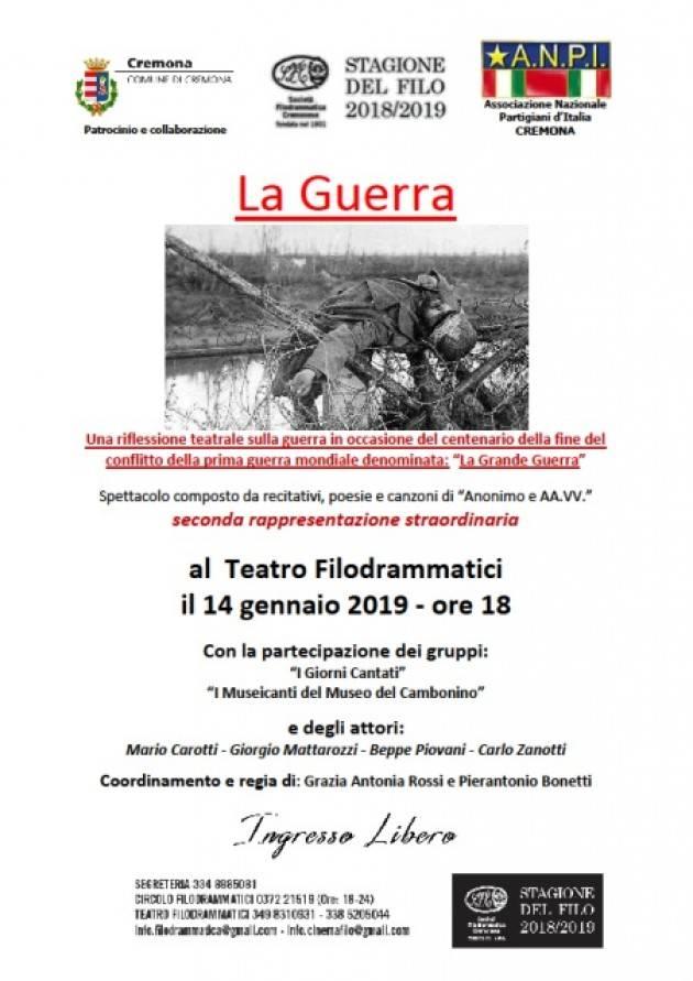L'ECOMEMO  1918-2018 Anpi  organizza  il 14 gennaio spettacolo 'La Guerra' al Filo