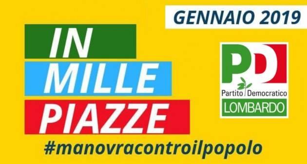 ANCHE  A Cremona MOBILITAZIONE PD il 12 Contro la manovra del Governo  M5S-LEGA