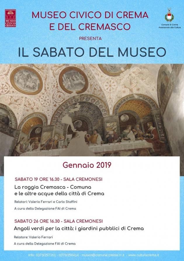 Crema 'Sabato al Museo' gli appuntamenti del 19 e 26 gennaio