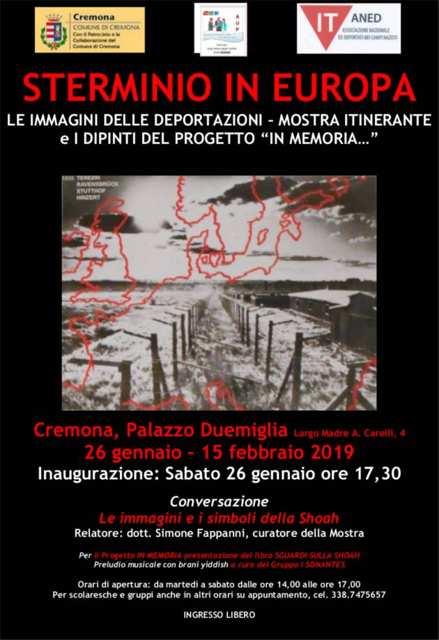 Giornata della Memoria Iniziativa a Palazzo Due Miglia Cremona sabato 26 gennaio