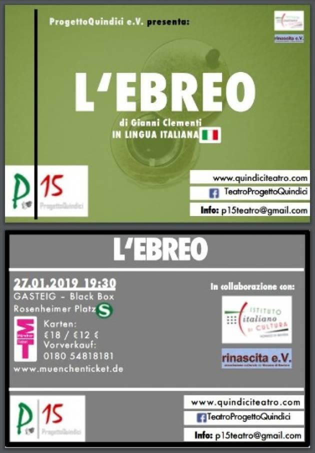 A Monaco di Baviera in scena la commedia 'L'Ebreo' il 27 gennaio