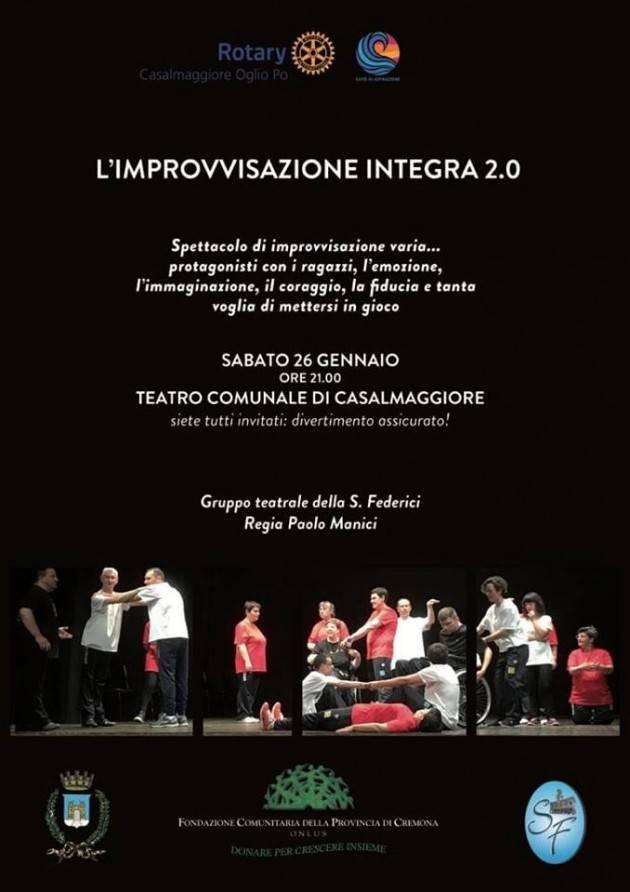 26 gennaio al Comunale di Casalmaggiore, lo spettacolo L'improvvisazione integra