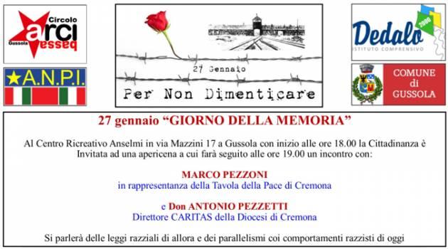 Gussola ricorda  Domenica 27 gennaio la Giornata della memoria