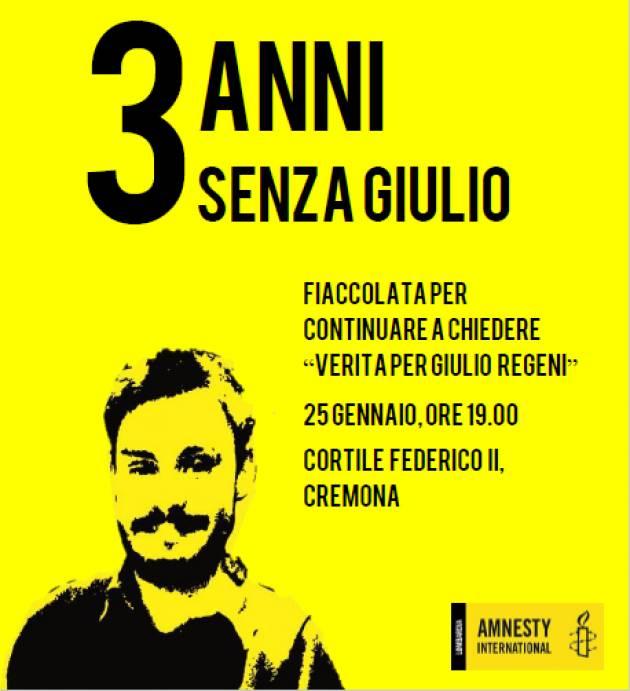 Amnesty Cremona  Oggi 25 gennaio fiaccolata per Giulio Regeni