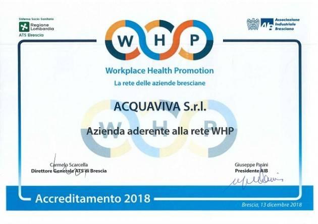 Travagliato (BS), Acquaviva aderisce al programma WHP Workplace Health Promotion