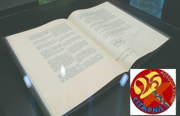 Ass 25 aprile Cremona organizza incontro su 'La lingua della Costituzione' Evento del 31 gennaio