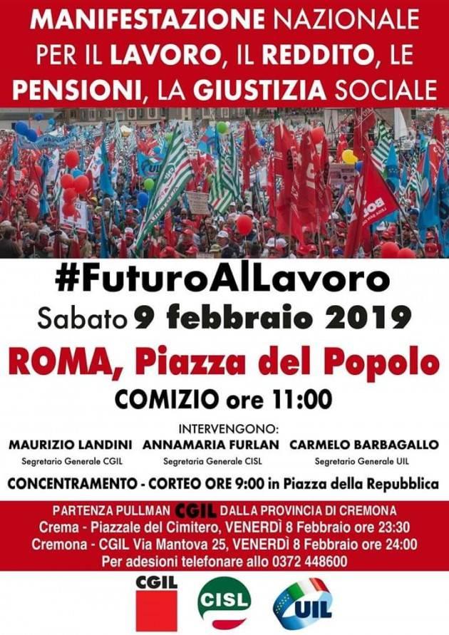 Anche Cgil-Cisl-Uil Cremona a Roma alla manifestazione del 9 febbraio #futuroallavoro