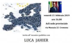Evento 15 febbraio Acli Cremona Incontro su 'Europa e Welfare' con LUCA JAHIER con Luca Jahier