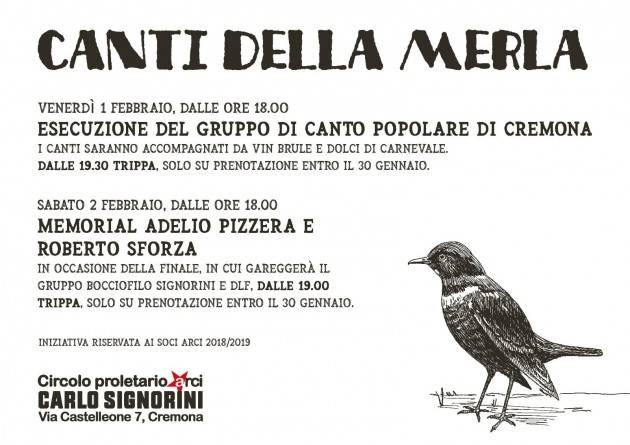 ArciSignorini Cremona festeggia i tre giorni della merla l'1 e 2 febbraio 2019