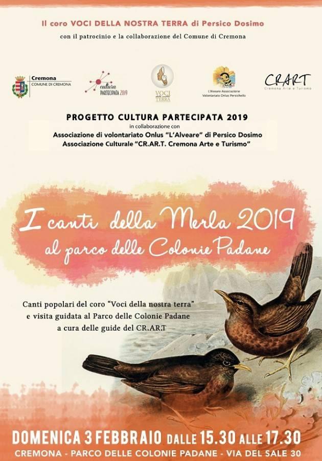 I canti della merla , con dolcetti e vin brulè, Domenica 3 febbraio ore 15.30 alle Colonie Padane Cremona
