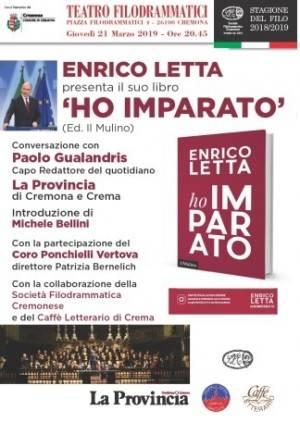L'ECOLIBRI Enrico Letta presenta il suo libro 'Ho imparato' il 21 marzo al Filo
