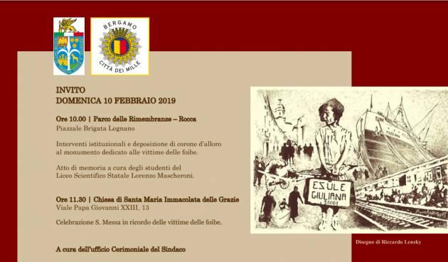 Bergamo Celebrazione del Giorno del Ricordo Domenica 10 febbraio 2019
