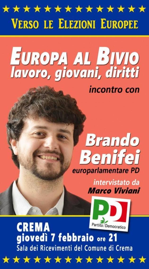 Verso le elezioni europee Brando Benifei (Pd) a Crema il 7 febbraio 2019