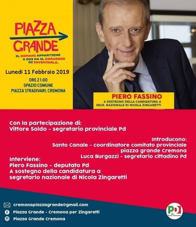 Congresso Nazionale PD: Piero Fassino a Cremona l'11 febbraio 2019 a sostegno di Nicola Zingaretti
