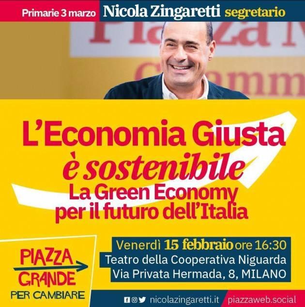 Incontro con Nicola Zingaretti su 'L'Economia Giusta è Sostenibile' venerdì 15  a Milano