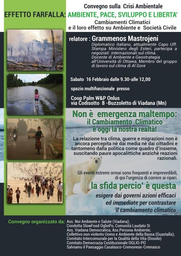 Buzzoletto di Viadana Evento 16 febbraio  con Grammenos Mastrojeni sui cambiamenti climatici