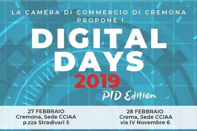 La Camera di Commercio di Cremona propone i 'Digital Days' 2019 il 27 e 28 febbraio