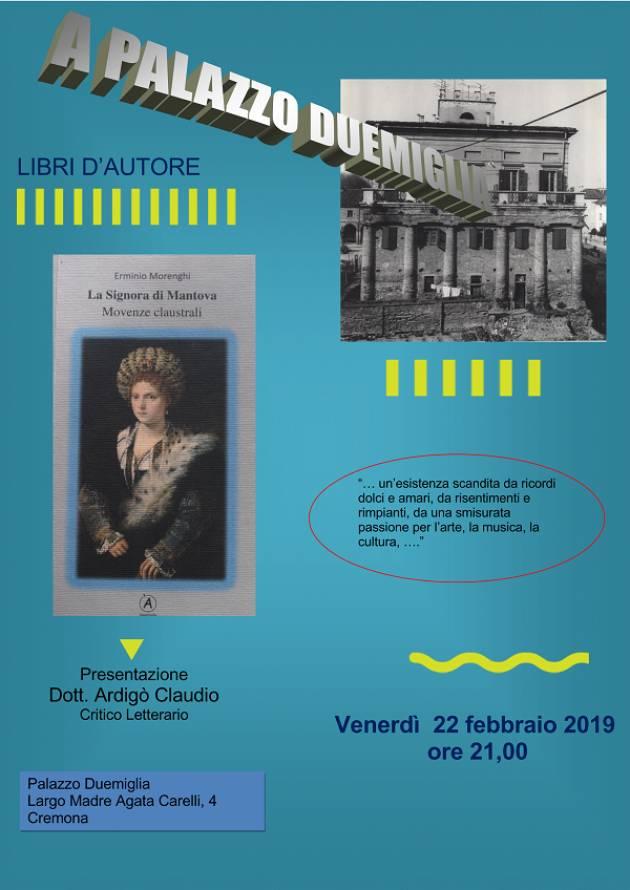 Cremona  a Palazzo Duemiglia incontro, venerdì 22, con lo scrittore Erminio Morenghi