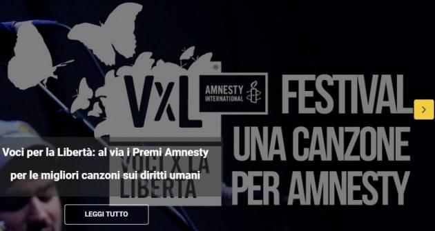 Amnesty I DIECI ARTISTI IN LIZZA PER LA MIGLIOR CANZONE SUI DIRITTI UMANI