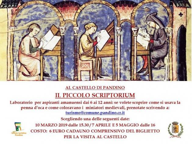 Laboratorio 'Il piccolo scriptorium' al Castello di Pandino Evento del 5 maggio