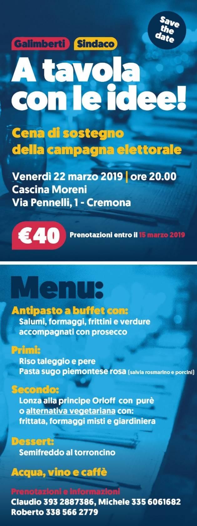 A cena  il prox 22 marzo con Gianluca Galimberti per finanziare la campagna elettorale