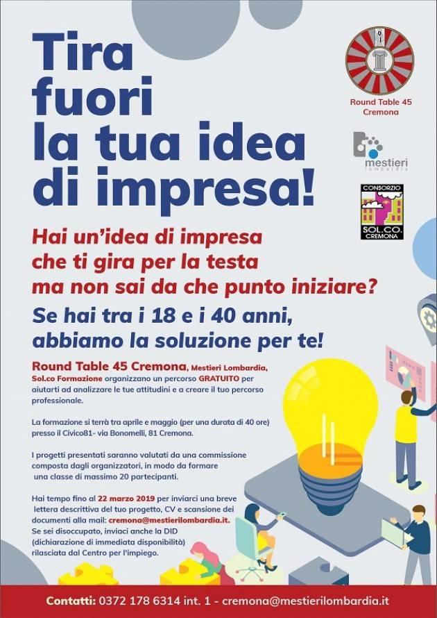 Cremona Tira fuori la tua idea di impresa! Iscrizioni fino al 22 marzo