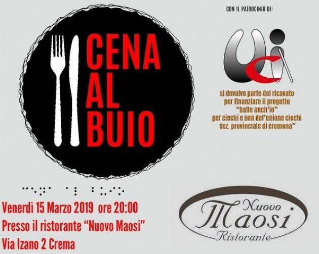 UICI Cremona: venerdì 15 marzo a Crema la Cena al Buio