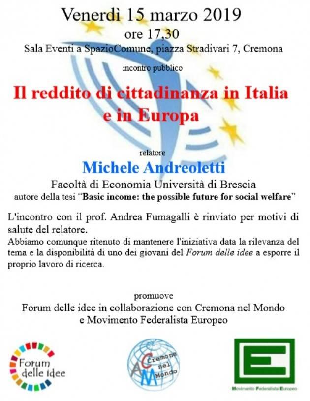 Il Forum delle Idee conferma incontro del 15 marzo 'Reddito di cittadinanza in Italia e in Europa'