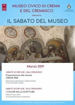 Crema Conferenze de Il sabato del Museo gli appuntamenti del 23 e 30 marzo
