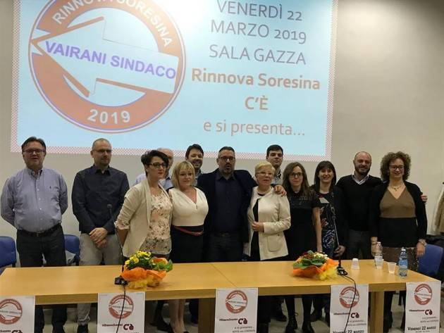 Diego Vairani, candidato sindaco, e la sua lista RinnovaSoresina 2019