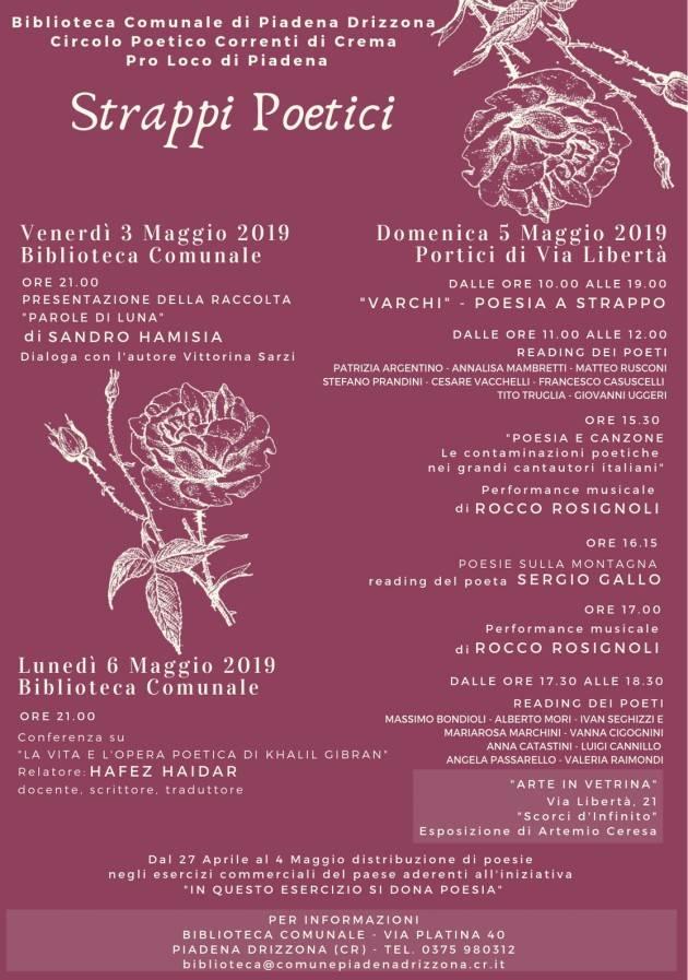 Piadena: domenica  5 maggio la 4° edizione di Poesia A Strappo