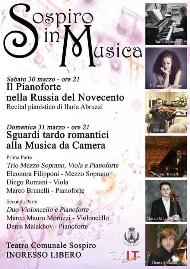 Sospiro in Musica: Giovani Musicisti in Concerto RASSEGNA MUSICALE 30/31 MARZO