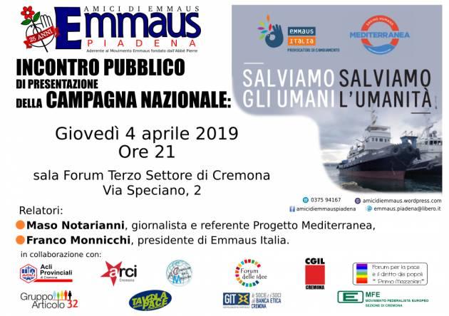 Salviamo gli Umani e l' Umanità Incontro organizzato da Emmaus a Cremona il 4 aprile