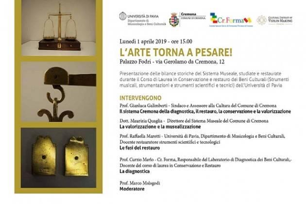 """Lunedì 1° aprile a Palazzo Fodri """"L'arte torna a pesare!"""""""