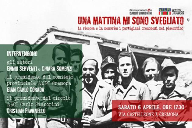 Sabato 6 aprile al circolo Signorini un incontro sui partigiani cremonesi nel piacentino