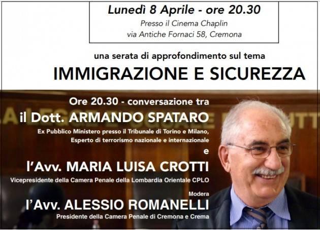 Cremona Al Cinema Chaplin incontro con l'ex Magistrato Dott. Armando Spataro Lunedì 8 aprile