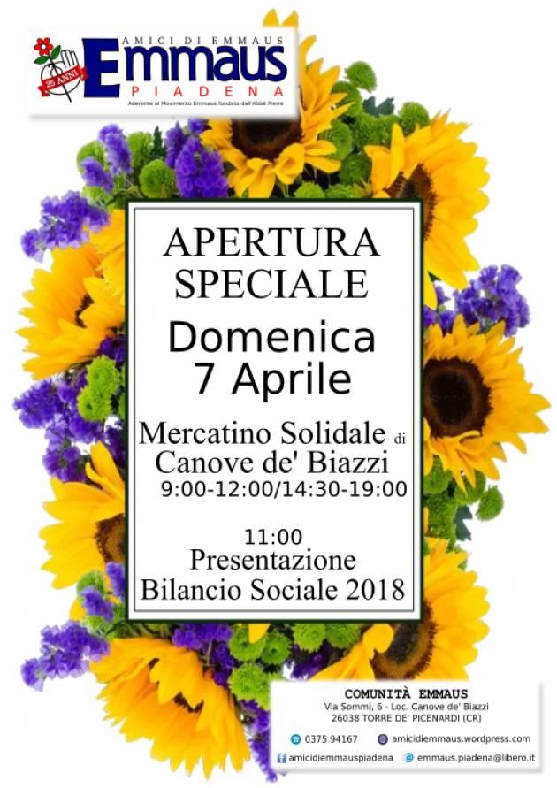Emmaus di Canove de' Biazzi  Domenica 7 festeggia il 25°. Mercatino aperto
