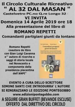 Presentazione a Castelvetro (Pc)  del libro 'Comandanti partigiani giunti da lontano'Domenica 14