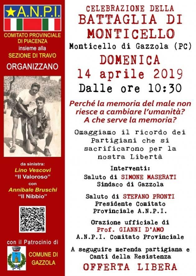 A Monticello di Gazzola (Pc) tradizionale manifestazione antifascista  Domenica 14 aprile