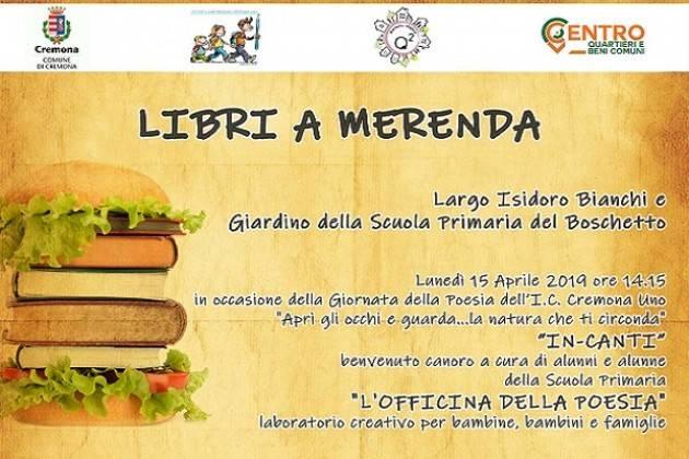"""Lunedì 15 aprile al quartiere Boschetto """"Libri a Merenda"""""""