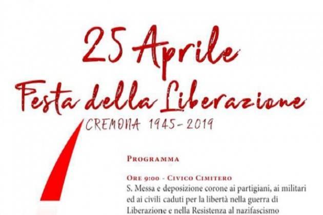 25 Aprile: il programma delle celebrazioni a Cremona