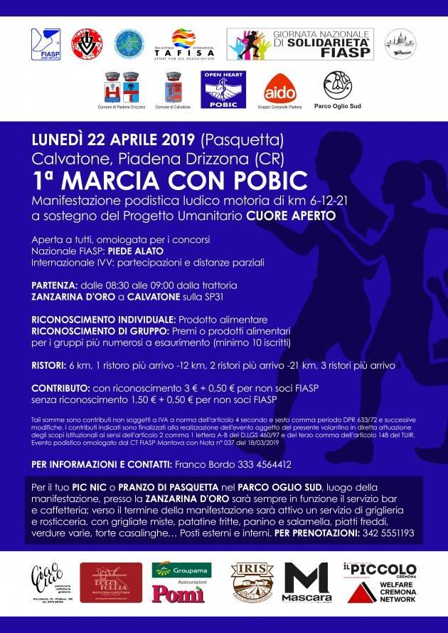 Calvatone Lunedì 22 aprile 'Marcia con Pobic', una valida alternativa per la Pasquetta.