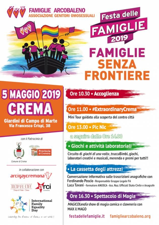 A Crema il 5 maggio  la Festa delle Famiglie Arcobaleno