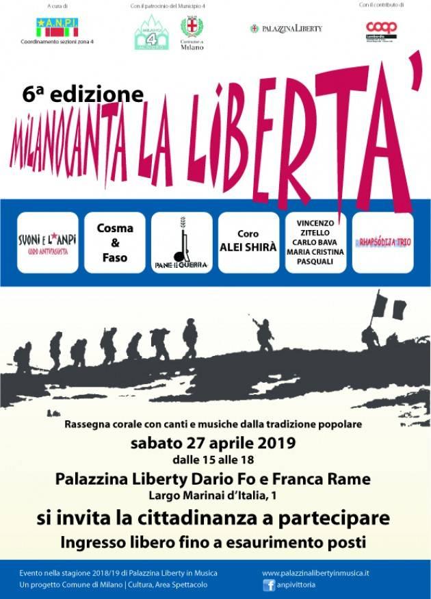 Milano  Canta la Libertà  sabato 27 aprile in Palazzina Liberty