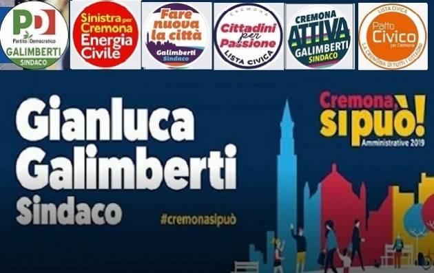 Le sei liste ed i simboli che sostengono Gianluca Galimberti sindaco di Cremona2019