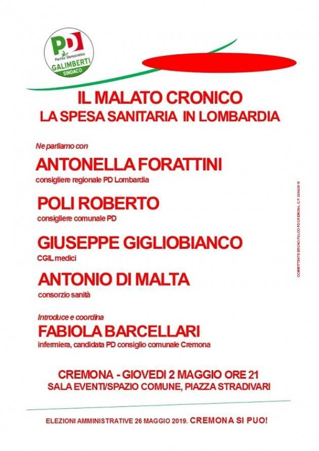 A Cremona un incontro pubblico sulla spesa sanitaria in Lombardia - giovedì 2 maggio
