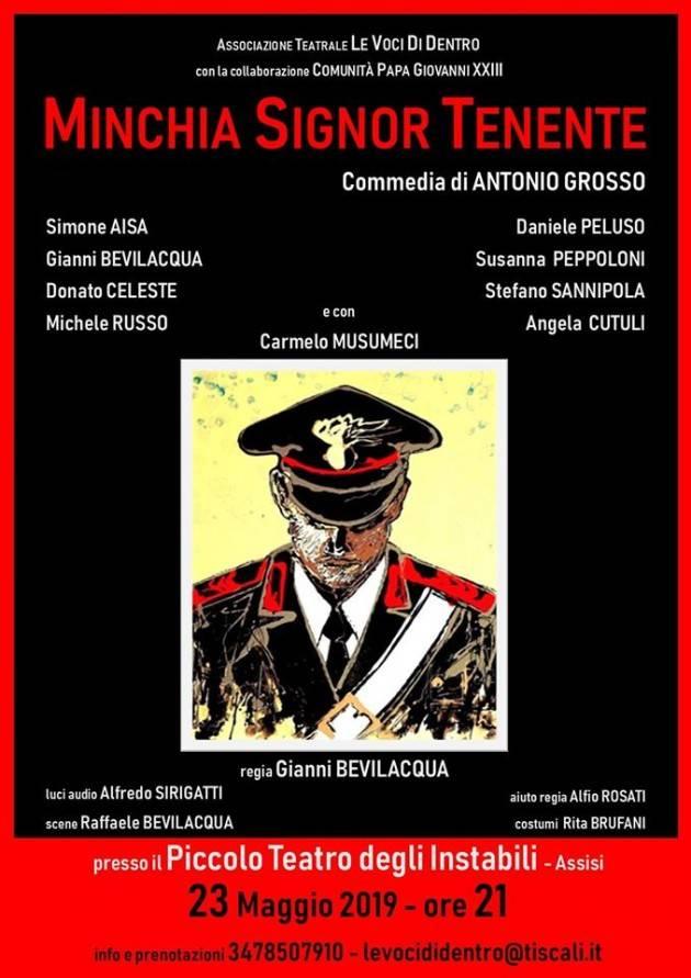 EVENTO TEATRALE DEL 23 MAGGIO 2019 'Minchia Signor Tenente' al Teatrino degli Instabili in Assisi (ore 21.00)
