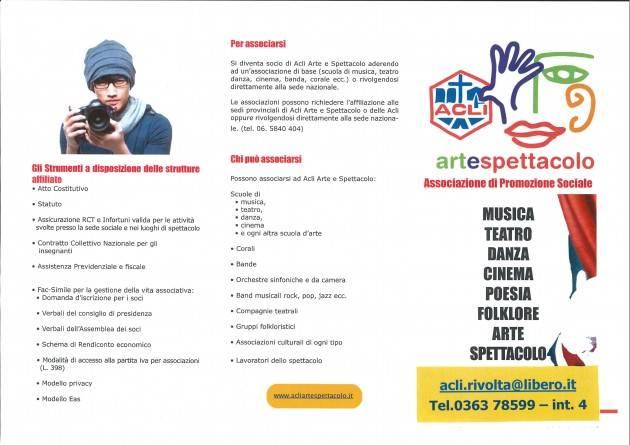Acli. ArteSpettacolo è un' associazione di promozione sociale artistico-culturale educativa delle Acli di Cremona