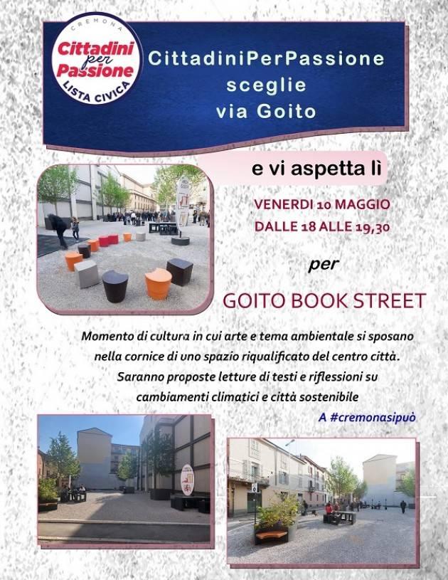 La lista civica,  CittadiniPerPassione,  a sostegno del candidato Sindaco Gianluca Galimberti scegli via Goito.